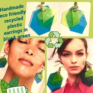 New Handmade 1oak blue&lime recycled earrings🍃🌿